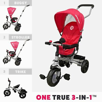 RiiRoo Kids Children Trike Tricycle 3 Wheel Ride Bike Buggy Handle Bar 3 In 1