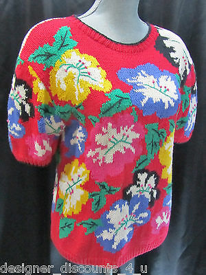 Heirlooms pullover top floral cotton top shirt hand knit Sweater M L VTG 80s NEW