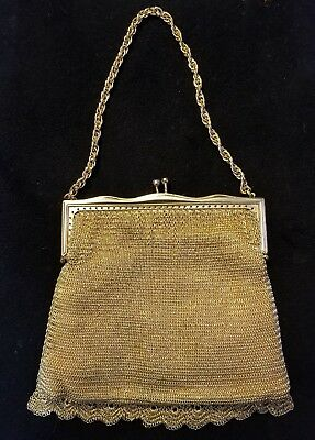 Vintage 1950's West Germany Small Gold Metal Chain Mesh Purse