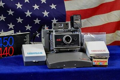 AAA Batteries  Polaroid Land Camera Model 440 Complete Bundle w/ kits flash, 250