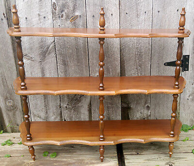Vintage 3 Tier Scalloped Routed Walnut Wall Counter Top Shelf w/ Turned Spindles