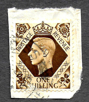GREAT BRITAIN 1937-39 KING GEORGE VI, 1Sh USED OCHRE (Free S&H in US only)