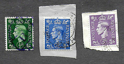 GREAT BRITAIN 1937-39 KING GEORGE VI, 1/2, 2-1/2 & 3D USED LOT OF 3 (Free S&H US