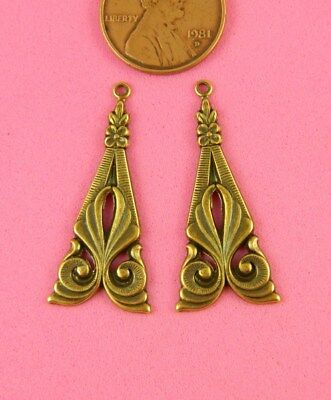 Antique Brass Art Nouveau Earring Findings - 2 Pc