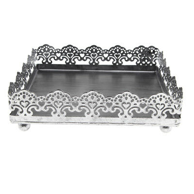 Square Cake Stand Metal Hollow Lace Fruit Plate Wedding Home Decor Silver