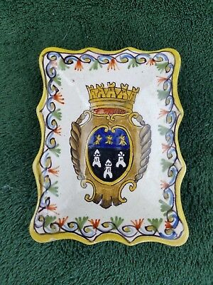 Antique Tours France Crest butter pat salt dish hand painted 3.5 x 2.75 inch
