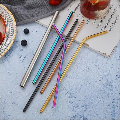 5 Color Reusable Straight Stainless Drinking Straws Wedding Birthday Party