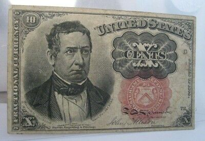 1874 5th Issue Fr.1266 10¢ cent US Fractional Currency Note. Short Key type.