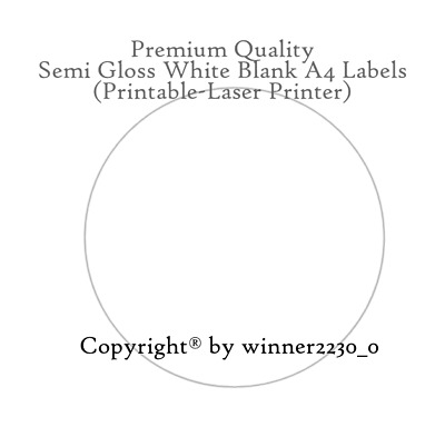 5 Gloss White Round BLANK Label A4 Laser Inkjet Printable 25<200mmØ Sticker Seal