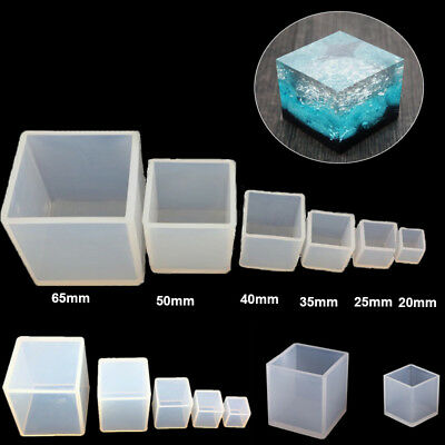 3D Cube DIY Molds Silicone Resin Craft Square Jewelry Making Mould 20mm-65mm