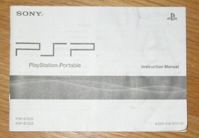 Sony PlayStation Portable PSP Console Instruction Manual / User Guide