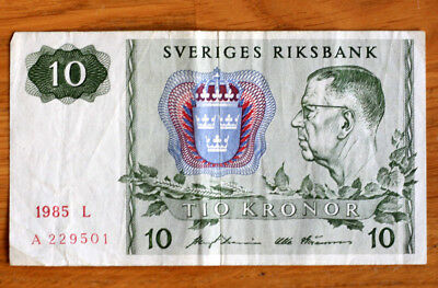10 Kronor, Bank of Norway, 1985.
