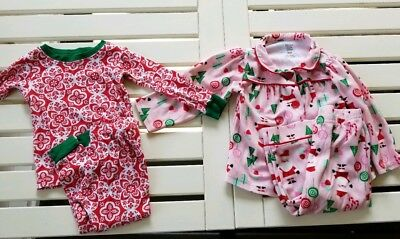 Baby Girls Carters Christmas Pajamas Lot 18 Month 2 pairs