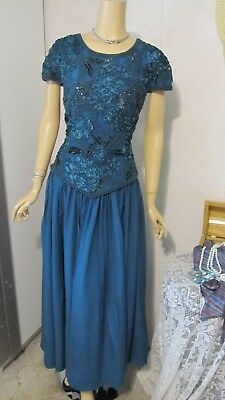 Mother Of The Bride Dress by Alyce-Size 16- Teal Illusion Beaded 100% Silk