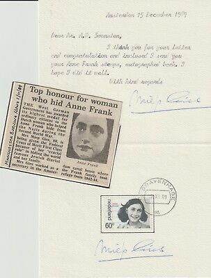 Reply Card Signed By Lady Who Hid Anne Frank Miep Gies 1909-2010 From Collection