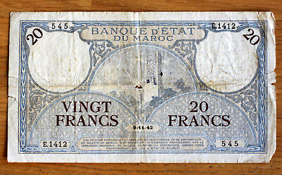 20 Francs, State Bank of Morocco, 1942.