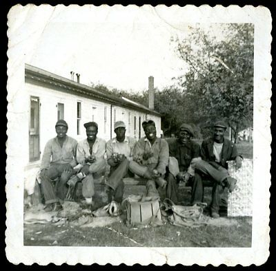 Vtg Photo 6 African American Men at Lunch from Factory Work Candid Amateur Photo