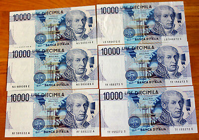 6x10.000 Lire, Bank of Italy, 1984.