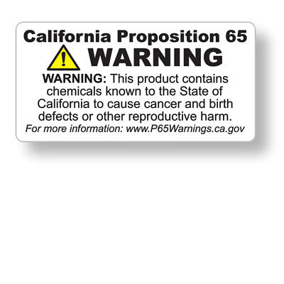 "CA Prop 65 English ONLY Warning - 1""X2"" Labels (#00617) - FREE SHIPPING"