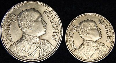 Thailand - 1/4 & 1/2 Baht - Of Rama Vi - Lot Of 2 - Silver Coins ---- #263Z