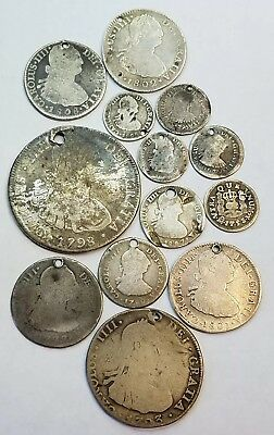 1700s-1800s Spanish Colonial Mexico Bolivia Silver Reales Holed Silver Coin Lot