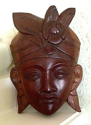 """Wooden Hand Carved Tribal Mask Wall Art Decor 5"""""""