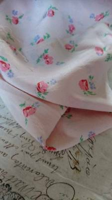 GORGEOUS MORCEAU ANTIQUE FRENCH ART SILK SOFT PINK & ROSES circa 1920
