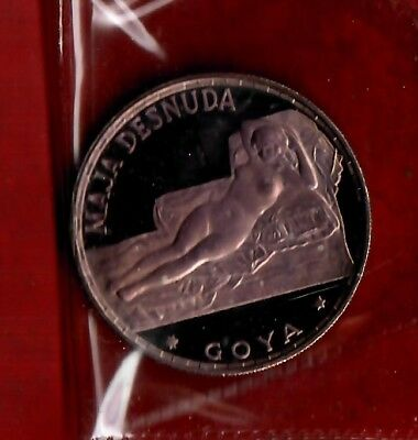 "Equatorial Guinea 1970 100 Pesetas Silver Proof Coin ""Goya"" with Sleeve"