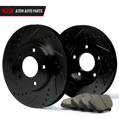 2010 2011 2012 2013 Fit Kia Forte (Black) Slot Drill Rotor Ceramic Pads R