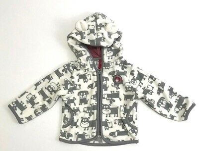Carters Toddler Fleece Hooded Jacket 12 Months Dog Pattern Gray and Ivory Unisex