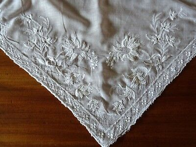 Large Antique White Embroidered Fine Voile Shawl