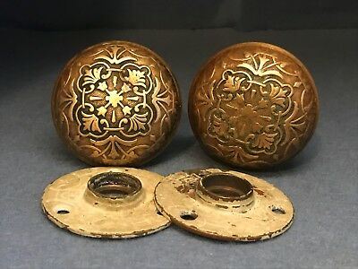 Antique Victorian Eastlake Ornate Brass / Bronze Door Knob Set w/Back Plates