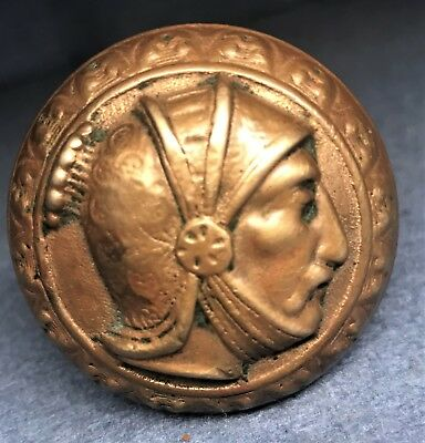 "Antique Victorian Eastlake Figural Brass / Bronze Door Knob ""Knight Profile"""