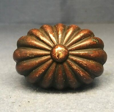 Antique Victorian Eastlake Oval Ribbed Brass / Bronze Door Knob