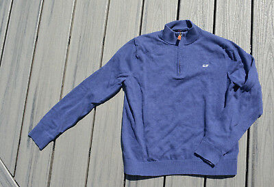 VINEYARD VINES L 16 BOYS SWEATER PULLOVER NAVY BLUE WHALE WINTER LARGE 1/4 Zip