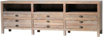 """81"""" Oscar Plasma Stand Solid Reclaimed Wood Natural Distressed Finish"""