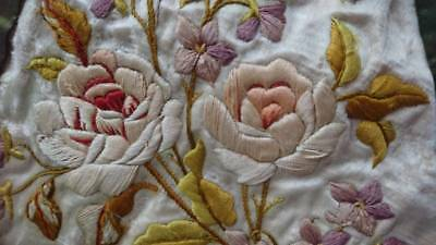 BEAUTIFUL 19th CENTURY ANTIQUE FRENCH EMBROIDERED SILK PANEL FOR PROJECTS