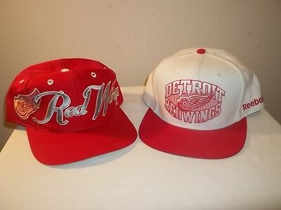 Vtg Lot Of 2 NHL DETROIT RED WINGS SNAPBACK HATS The Game Script & Reebok