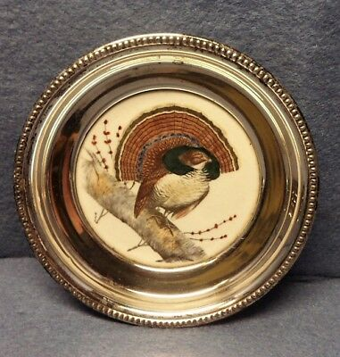 Whiting Sterling Silver Rimmed & Porcelain Coaster Hand Painted -Ruffed Grouse