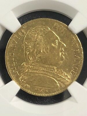 1815A France Louis XVIII Gold 20 Francs Coin NGC AU50 Free Shipping