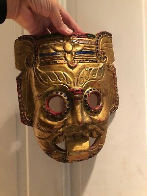 Wooden Mask Thailand Hand Carved Vintage Wall Hanging Face Décor Art Sculpture