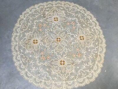 Antique French Netting Lace Needle Work Ivory Round Tablecloth Roses A124
