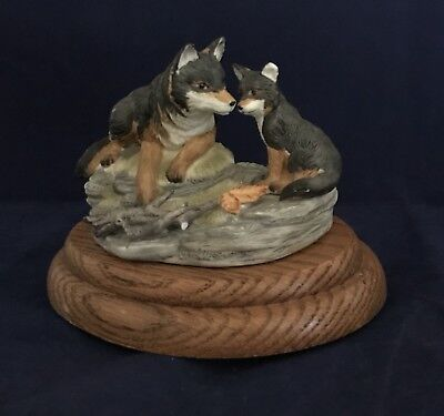 Wolf Figurine Statue With Melodies Musicbox Base