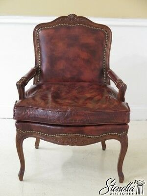 30097EC: HICKORY CHAIR CO. Brown Leather French Armchair