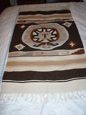 """Native American Woven 56"""" x 28"""" Blanket Rug Tappestry Wall Decor Vintage"""