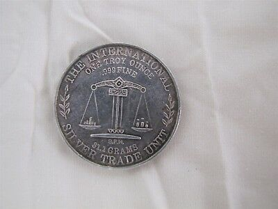 One Troy Ounce .999 Fine Silver Coin The International Silver Trade Unit S.P.M.
