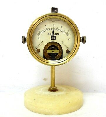 Antique 1900 S´ Loewenstein German Berlin Brass Ammeter Galvanometer Adjustable