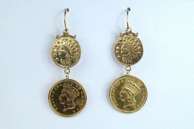 ANTIQUE 22K GOLD US INDIAN $1 ONE DOLLAR EARRINGS 1850/70's $1 NO RESERVE