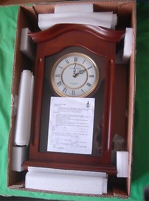 London Clock Company Pendulum Wall Clock Walnut Vintage Look Westminster Chime