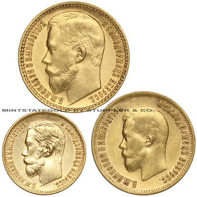 Set of 3 Russia Gold 5/10/15 Roubles Nicholas II AU Almost Uncirculated USSR